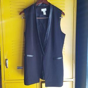 Soft surroundings open vest faux leather trim